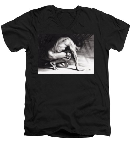 Resting Il Men's V-Neck T-Shirt by Paul Davenport