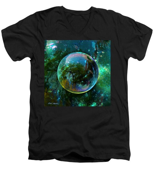Men's V-Neck T-Shirt featuring the painting Reticulated Dream Orb by Robin Moline