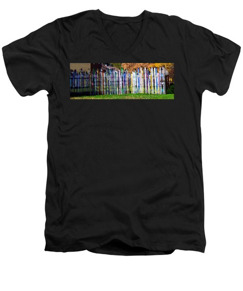 Men's V-Neck T-Shirt featuring the photograph Retired Skis  by Jackie Carpenter