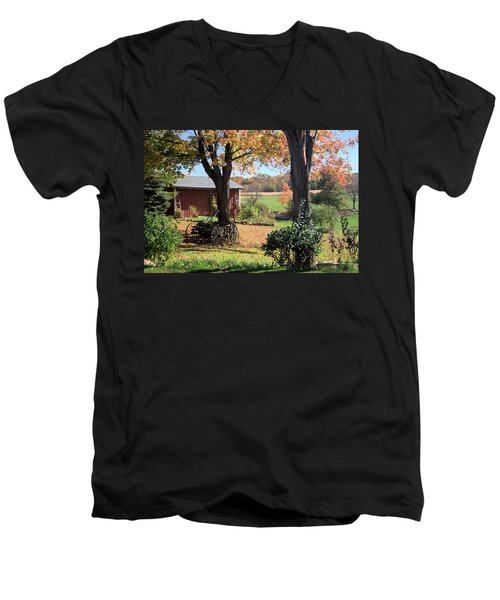 Retired Wagon Men's V-Neck T-Shirt by Gordon Elwell