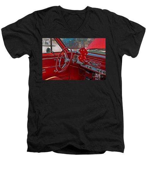 Men's V-Neck T-Shirt featuring the photograph Retro Chevy Car Interior Art Prints by Valerie Garner