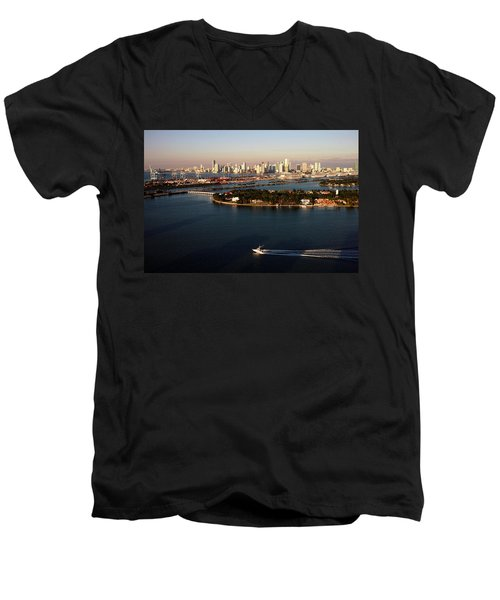 Retro Style Miami Skyline Sunrise And Biscayne Bay Men's V-Neck T-Shirt