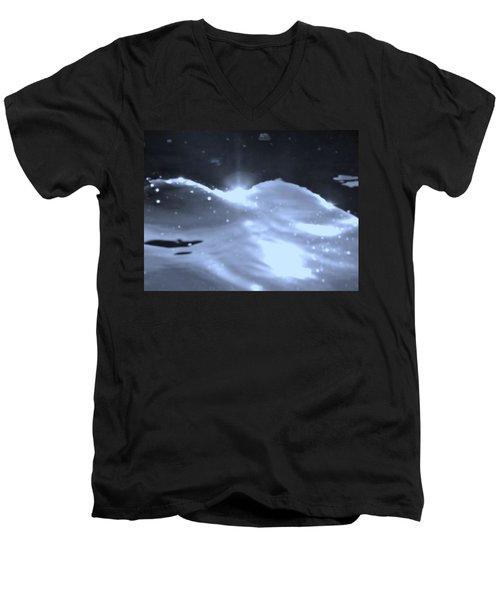 Men's V-Neck T-Shirt featuring the photograph  Moon Sunset by Deborah Moen