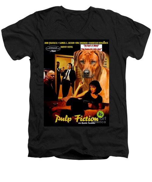 Rhodesian Ridgeback Art Canvas Print - Pulp Fiction Movie Poster Men's V-Neck T-Shirt