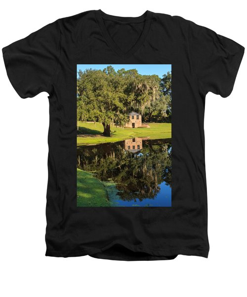 Rice Mill  Pond Reflection Men's V-Neck T-Shirt