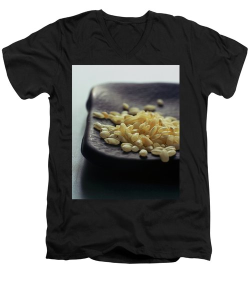 Rice On A Black Plate Men's V-Neck T-Shirt