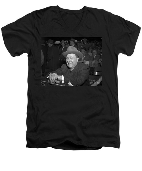 Men's V-Neck T-Shirt featuring the photograph Richard J. Daley 1955 by Martin Konopacki Restoration