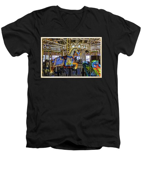 Ride A Painted Pony - Coney Island 2013 - Brooklyn - New York Men's V-Neck T-Shirt by Madeline Ellis