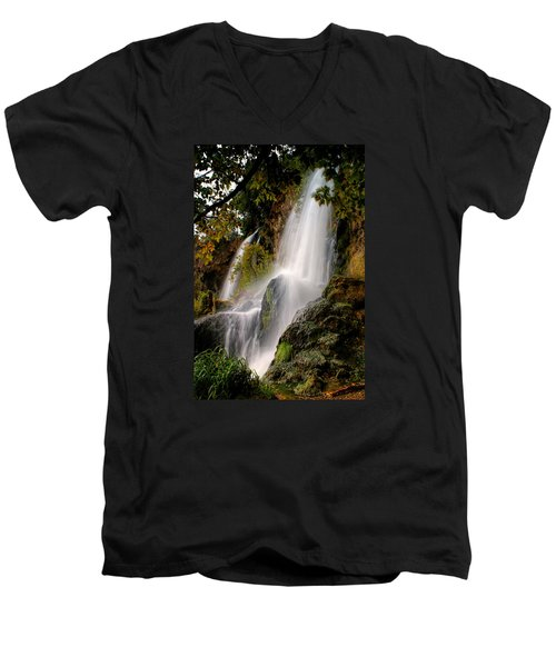Men's V-Neck T-Shirt featuring the photograph Rifle Falls by Priscilla Burgers