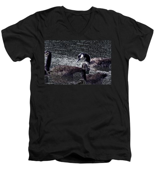 Men's V-Neck T-Shirt featuring the photograph Right Behind Ya   by Lesa Fine