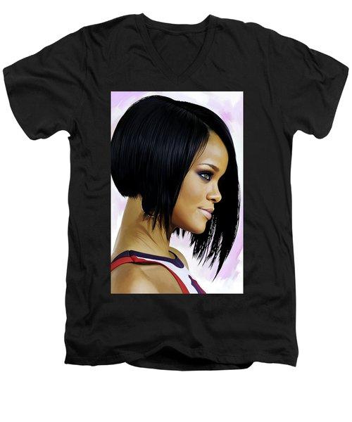 Rihanna Artwork Men's V-Neck T-Shirt by Sheraz A