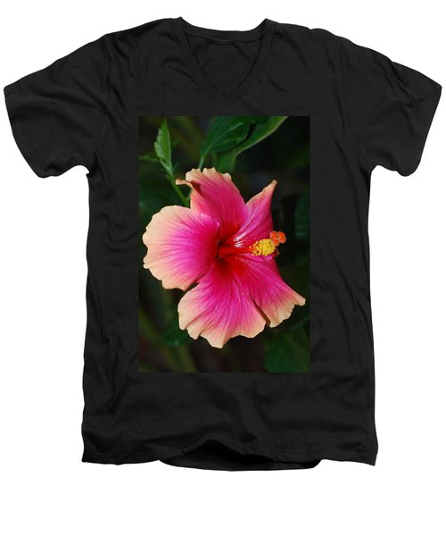 Rise And Shine - Hibiscus Face Men's V-Neck T-Shirt by Connie Fox