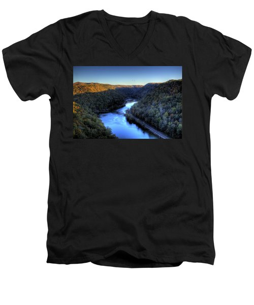 Men's V-Neck T-Shirt featuring the photograph River Cut Through The Valley by Jonny D