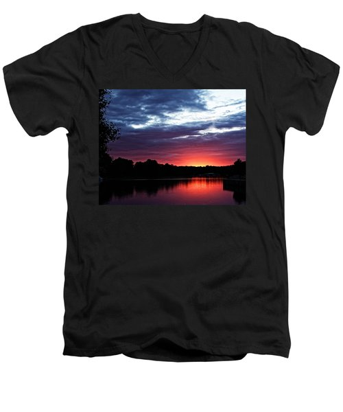 River Glow Men's V-Neck T-Shirt by Dave Files