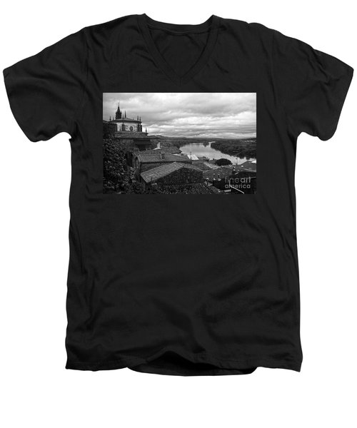 River Mino And Portugal From Tui Bw Men's V-Neck T-Shirt