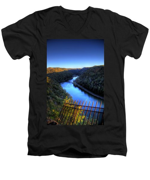 Men's V-Neck T-Shirt featuring the photograph River Through A Valley by Jonny D