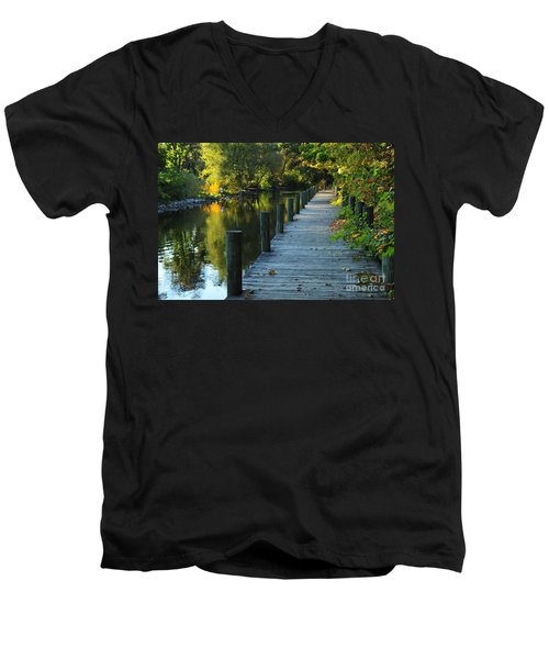 Men's V-Neck T-Shirt featuring the photograph River Walk In Traverse City Michigan by Terri Gostola
