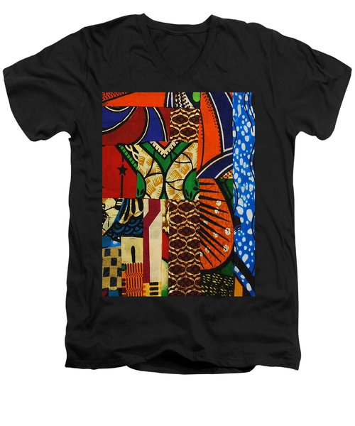 Men's V-Neck T-Shirt featuring the tapestry - textile Riverbank by Apanaki Temitayo M