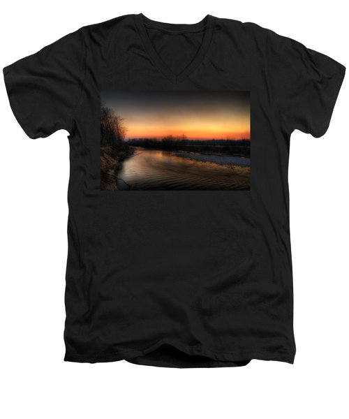 Riverscape At Sunset Men's V-Neck T-Shirt