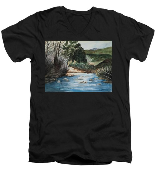 Riverscape Men's V-Neck T-Shirt by Lee Beuther