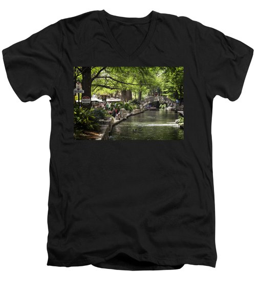 Men's V-Neck T-Shirt featuring the photograph Girl By The Water by Steven Sparks