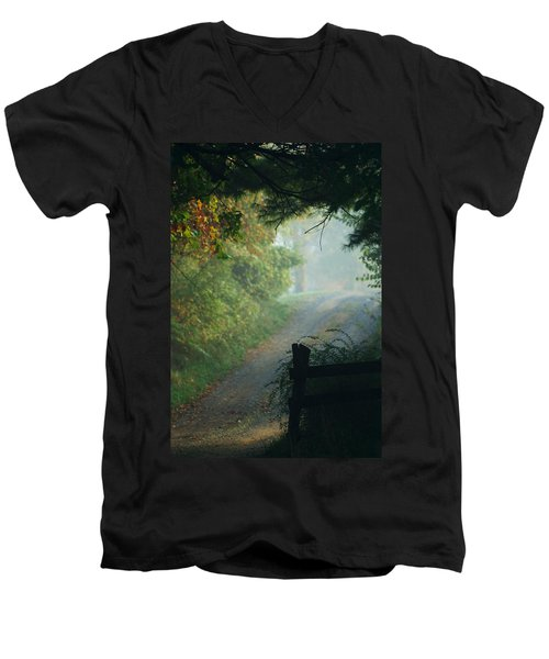 Road Goes On Men's V-Neck T-Shirt by Michael McGowan