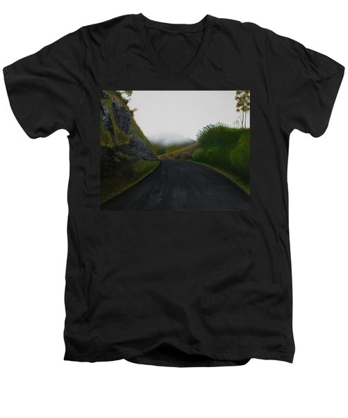 Men's V-Neck T-Shirt featuring the painting Road Near Gresford Nsw by Tim Mullaney