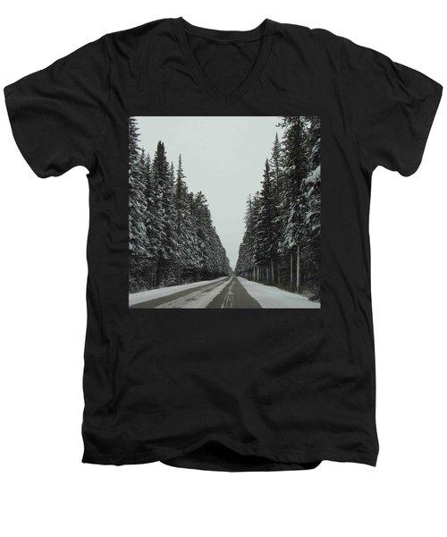 Road To Banff Men's V-Neck T-Shirt by Cheryl Miller