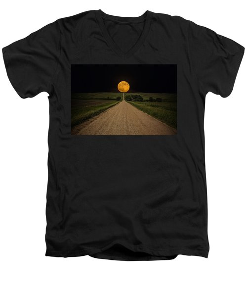 Road To Nowhere - Supermoon Men's V-Neck T-Shirt by Aaron J Groen
