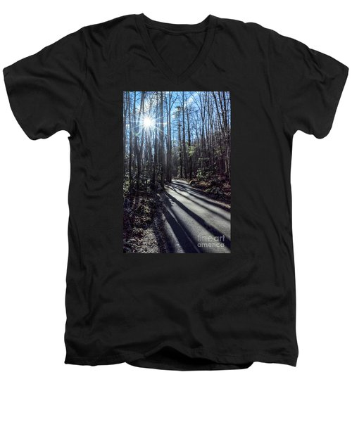 Men's V-Neck T-Shirt featuring the photograph Roaring Fork Road by Debbie Green