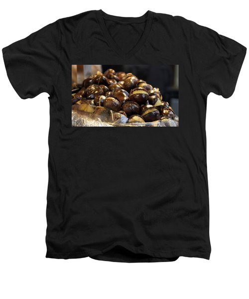 Men's V-Neck T-Shirt featuring the photograph Roasted Chestnuts by Lilliana Mendez