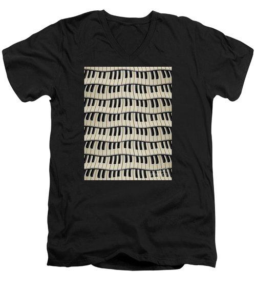 Rock And Roll Piano Keys Men's V-Neck T-Shirt