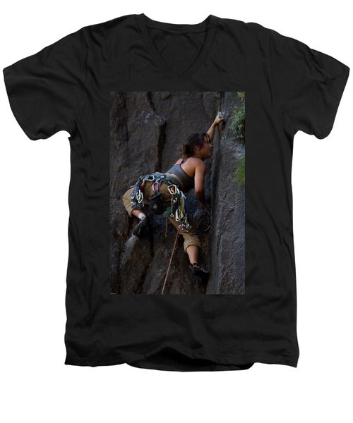 Men's V-Neck T-Shirt featuring the photograph Rock Climbing by Brian Williamson