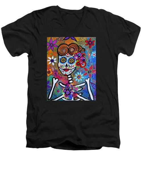Rockabilly Frida Men's V-Neck T-Shirt by Pristine Cartera Turkus