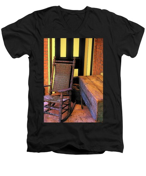 Rocking Chair And Woodbox Men's V-Neck T-Shirt by Rodney Lee Williams
