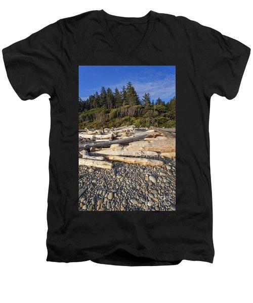 Rocky Beach And Driftwood Men's V-Neck T-Shirt