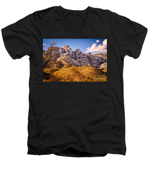 Men's V-Neck T-Shirt featuring the photograph Rocky Peaks by Mark Myhaver
