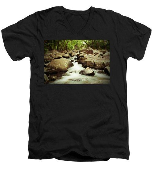 Rocky Stream Men's V-Neck T-Shirt by Michael Porchik
