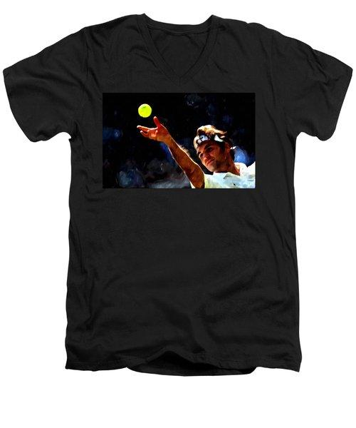 Roger Federer Tennis 1 Men's V-Neck T-Shirt by Lanjee Chee