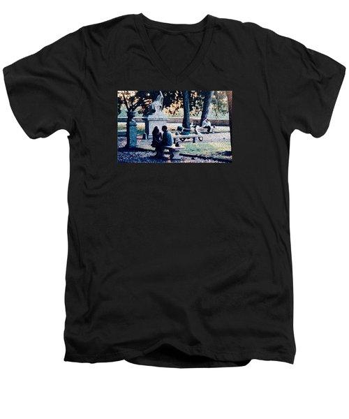 Men's V-Neck T-Shirt featuring the photograph Roman Romance Tivoli Gardens by Tom Wurl