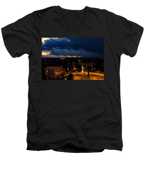 Rome Cityscape At Night  Men's V-Neck T-Shirt