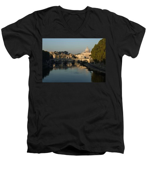 Rome - Iconic View Of Saint Peter's Basilica Reflecting In Tiber River Men's V-Neck T-Shirt