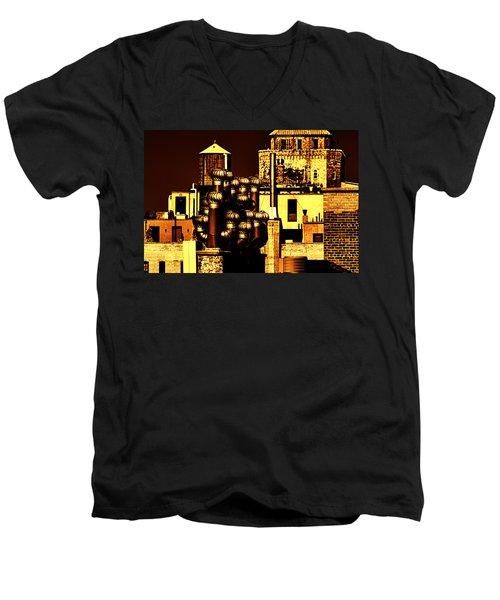 Roof Yellow Orange Men's V-Neck T-Shirt