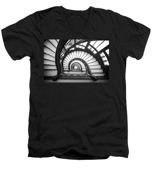 Rookery Building Oriel Staircase - Black And White Men's V-Neck T-Shirt