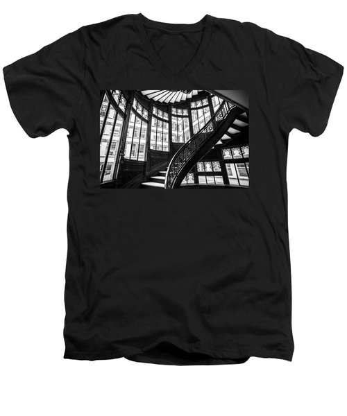 Rookery Building Winding Staircase And Windows - Black And White Men's V-Neck T-Shirt