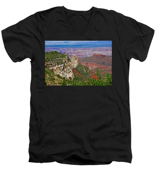 Roosevelt Point Two On North Rim/grand Canyon National Park-arizona   Men's V-Neck T-Shirt by Ruth Hager