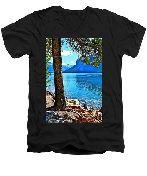 Rooted In Lake Minnewanka Men's V-Neck T-Shirt by Linda Bianic