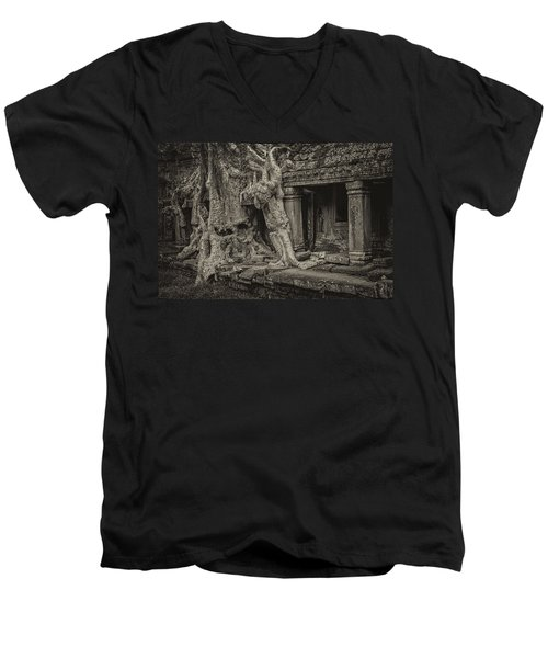 Roots In Ruins 7, Ta Prohm, 2014 Men's V-Neck T-Shirt by Hitendra SINKAR