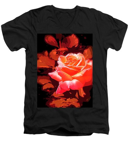 Men's V-Neck T-Shirt featuring the photograph Rose 1 by Pamela Cooper