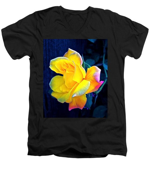 Men's V-Neck T-Shirt featuring the photograph Rose 4 by Pamela Cooper